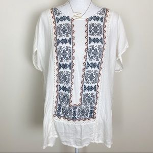 Lucky brand boho Embroidered white top